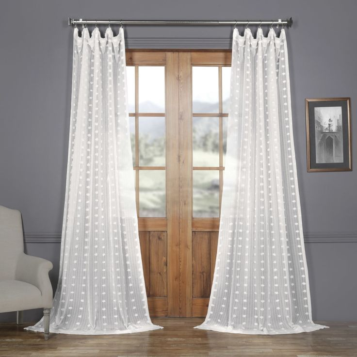 Strasbourg Dot Patterned Faux Linen Sheer Curtain Pom Pom Curtains White Neutral Curtains Affiliate Panel Curtains Sheer Curtain Panels Sheer Linen Curtains