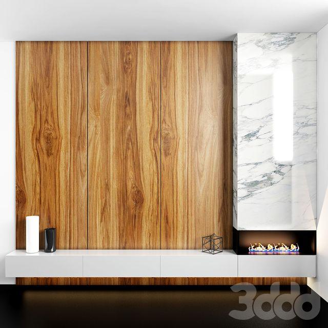 Fireplace&Wood TV zone | Интерьер, Декор и Гостиная