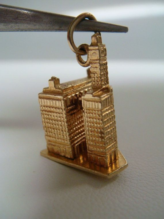 14k 3D Chicago Wrigley Building Charm Pendant by goldandgemsllc, $299.00