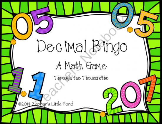 Decimal Bingo - Word Form to Standard Form Math Game from Zephyr'sLittlePond on TeachersNotebook.com -  (8 pages)  - This bingo game was created to help students practice changing decimals from word form (read aloud or visually) to standard form. It includes decimals designed to challenge students to really learn their place value (Ex: 0.5; 0.05; 0.005).