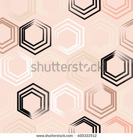 Cute vector seamless pattern . Hexagons, brush strokes.  Endless texture can be used for printing onto fabric or paper.