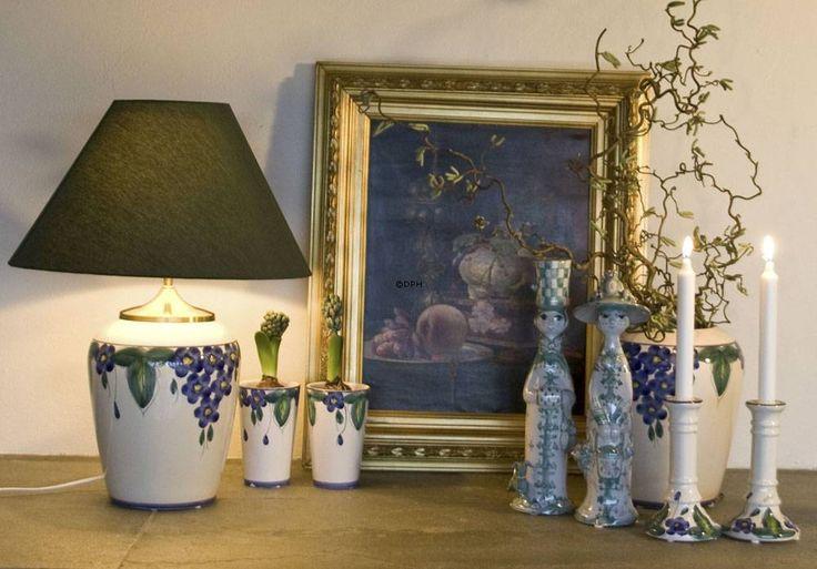Bordlampe | hvid med blå blomster | Nr. i24-d5-26-0 | DPH Trading