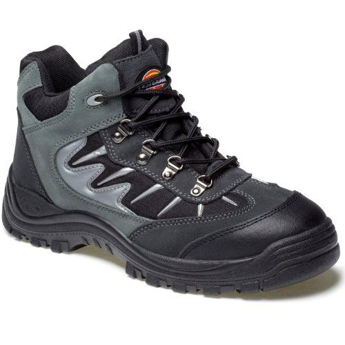 Dickies Storm Super Safety Trainer Hiking Boots - Grey - Size 11.5 Suede Leather And Mesh Uppers Sole Resistant To Petrol And Oil Steel Toe Cap To ISO EN20345 (200 JOULES) EN ISO 20345: 2004 / A1:2007 S1-P SRA Steel Midsole For Underfoot (Barcode EAN = 5053823132729) http://www.comparestoreprices.co.uk/december-2016-4/dickies-storm-super-safety-trainer-hiking-boots--grey--size-11-5.asp