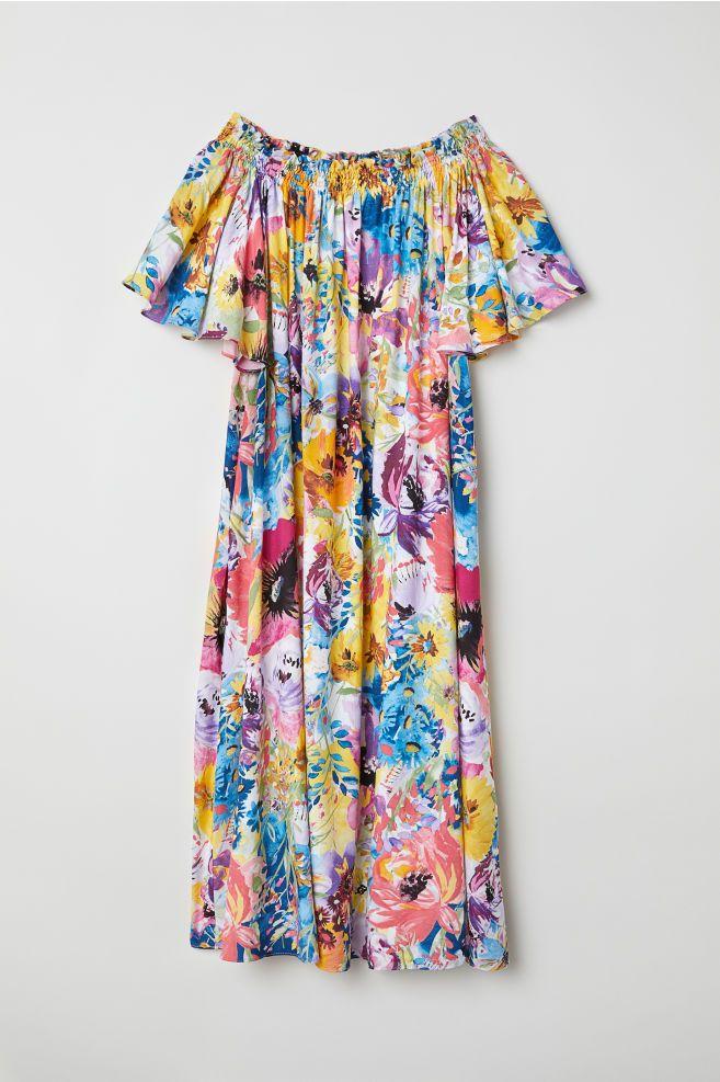 Sukienka Z Odkrytymi Ramionami Wielobarwny Kwiaty Ona H M Pl Calf Length Dress Clothes Dresses