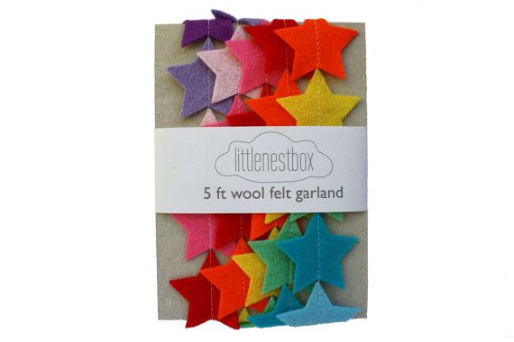Rainbow Star Felt Garland - Nursery Decor - Kids Room Decor - Party Banner