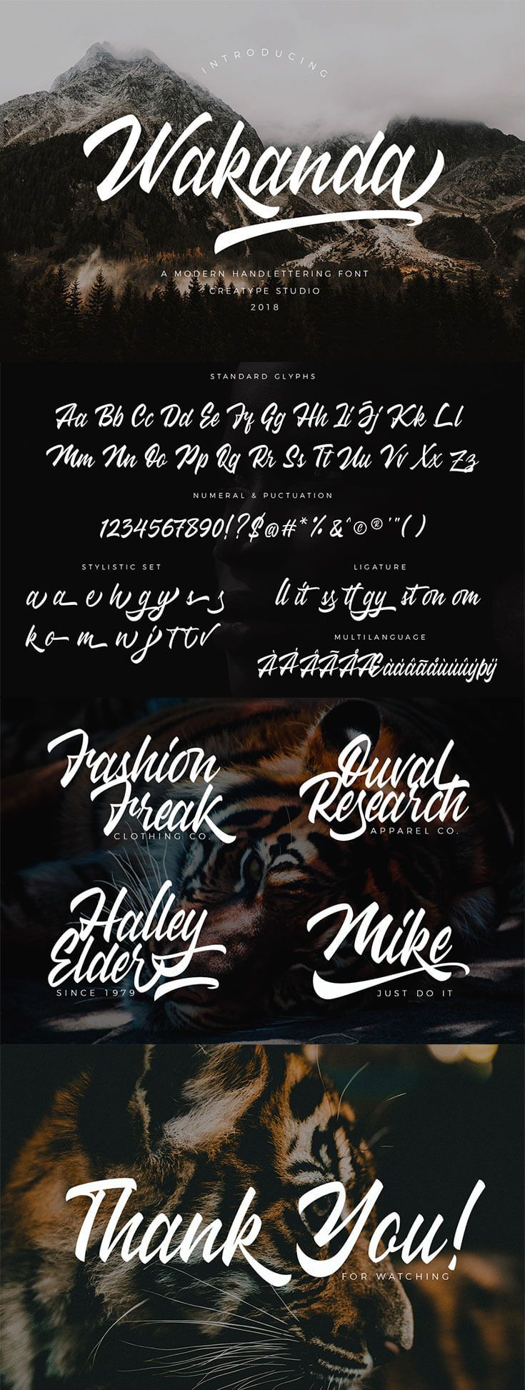 Free Wakanda #Script #Font is a stylish & #modern hand-letter script typeface. This font will look awesome and amazing in many ways to your latest project. via @creativetacos