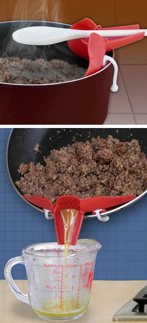 Snap on strainer spout - fits on any pan to drain off liquid, and doubles as an over the pot spoon holder - clever kitchen gadget! #product_design
