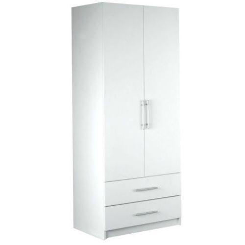 #White #Wooden #Wardrobe 2 #Doors 2 #Storage #Drawers #Contemporary #Bedroom #Furniture