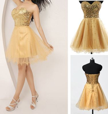 Gold Homecoming Dress,Short Prom Gown,Tulle Homecoming Gowns,Sequin Party Dress,Off the shoulder dress ,Short dress,Sweetheart dress