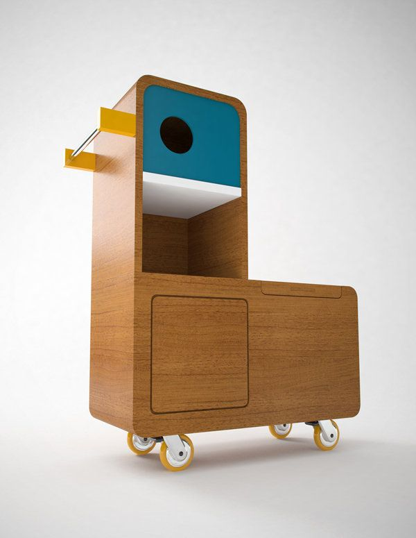 French design agency, e-glue are true specialists when it comes to conceptual design for kids, so it's no surprise their latest idea is a beauty    This charming duck-inspired piece is e-glue's answer to toy storage and boasts some pretty cool fixtures including a lifelike beak rail and jazzy, yellow rimmed wheels.
