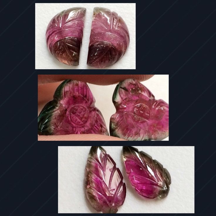 Gorgeous Watermelon Tourmaline Hand Carvings- Unique and one of a kind- prices like never before - Flat 55% off on all items. Shop till you drop our Spooctacular Halloween Sale only on Gemsforjewels!