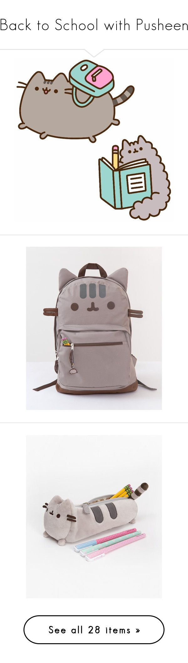 """Back to School with Pusheen"" by polyvore-editorial ❤ liked on Polyvore featuring bags, backpacks, cat, knapsack bag, cat backpack, backpack bags, cat bag, rucksack bag, home and home decor"