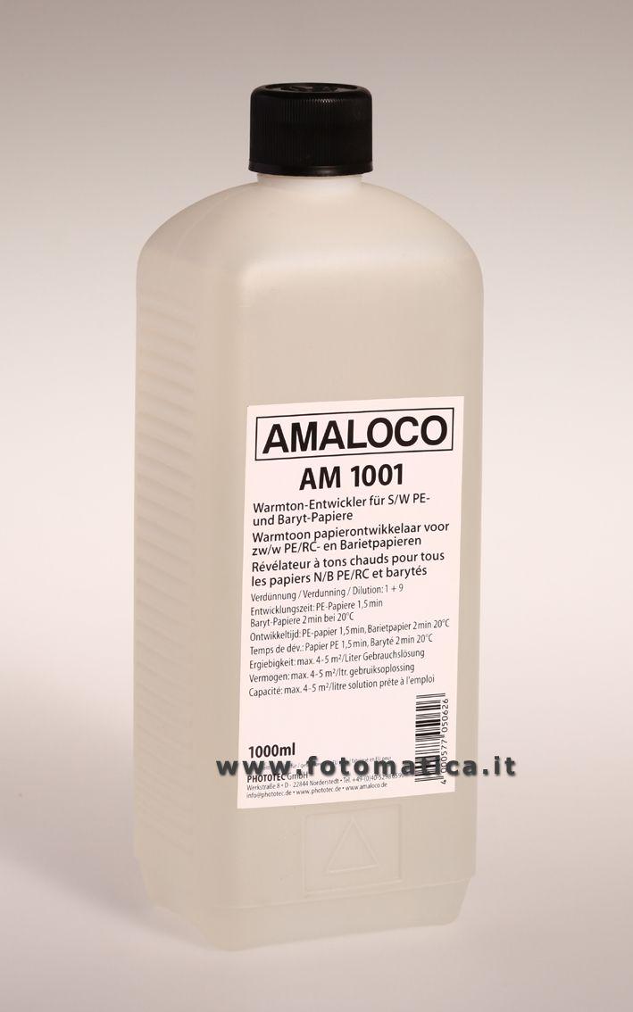 AMALOCO - AM 1001 -Rivelatore a tono caldo per tutte le carte politenate e baritate, particolarmente efficace con carte a tono caldo.  http://www.fotomatica.it/contents/it/d138_chimici_amaloco.html