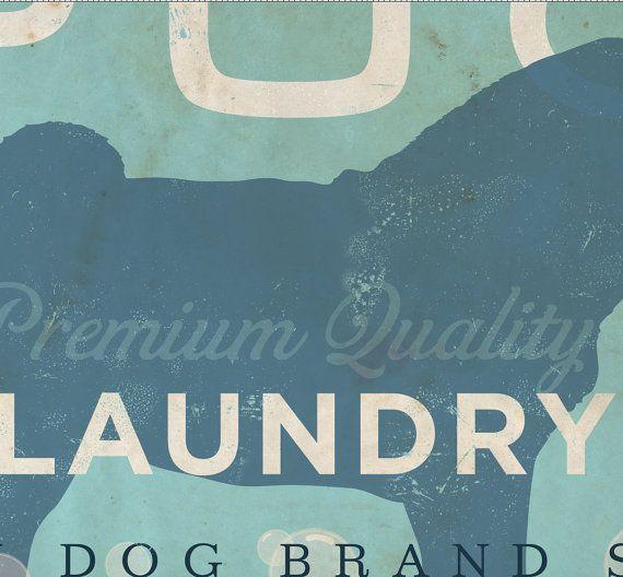 Pug Laundry Company illustration graphic art on canvas panel