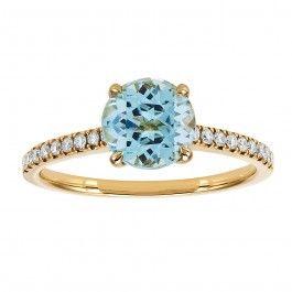 De la Collection BIRKS BOREALIS, cette bague en or jaune 18kt est ornée d'une topaze bleue ronde à facettes mesurant 7mm, et de diamants  d'un poids total de 0,14 carat. #BoîteBleue via @Maison Birks