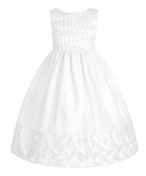 Take a look at the White Satin Lattice Dress - Girls on #zulily today!