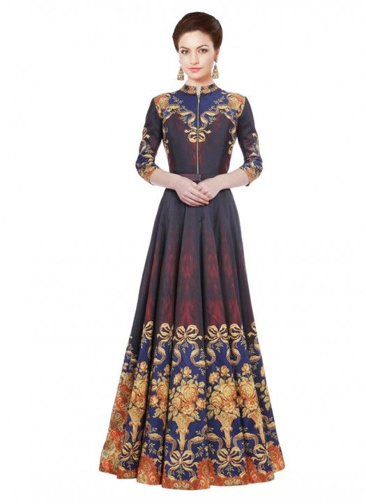 New Latest Black & Blue Long Printed Stitched Designer Gown