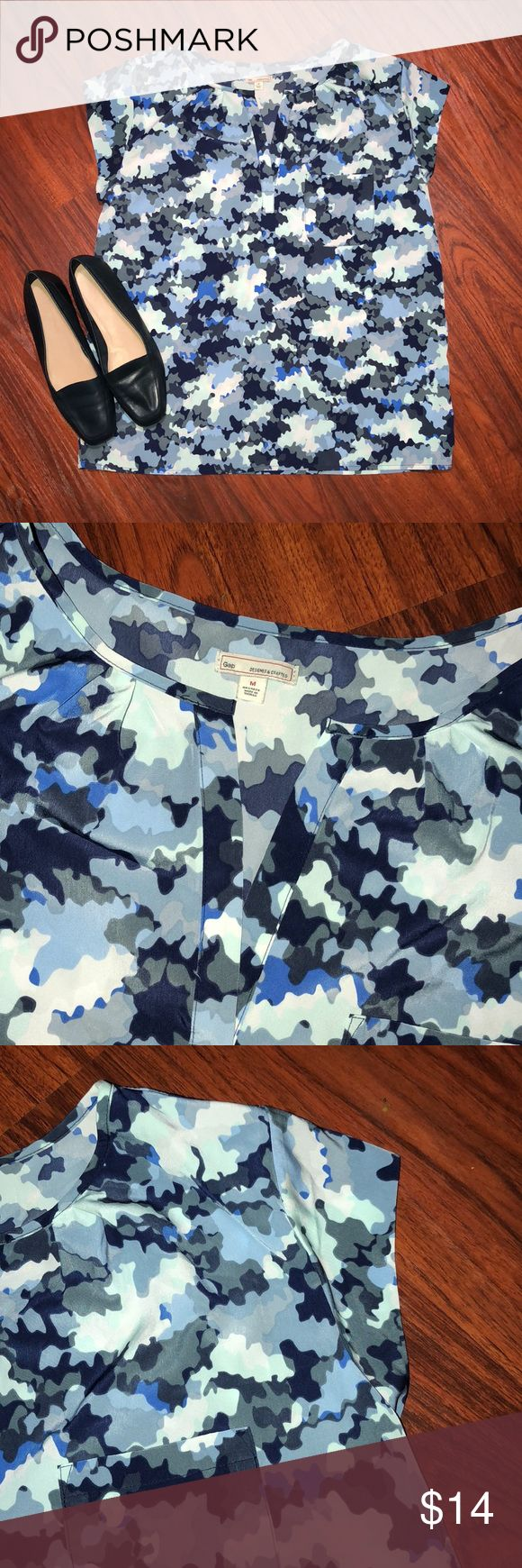 Gap Top Size medium. Super cute and fun blue camo print. Great for jeans or even slacks. GAP Tops Blouses