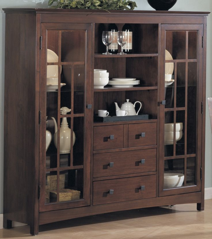 China cabinets china cabinet w 2 glass doors 4 for Decoration armoire salon