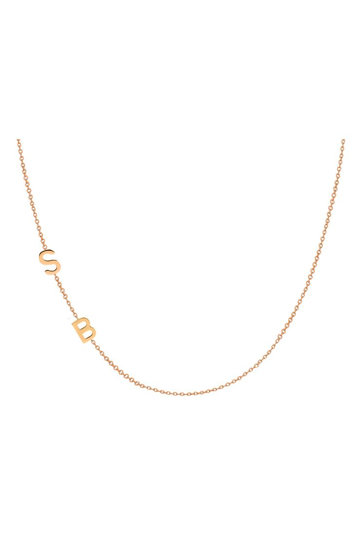 14k Gold Asymmetrical Initial Necklace | Letters by Zoe Jewelry