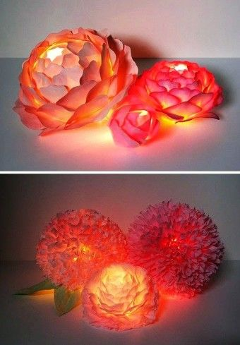 Creative paper diy Flower lantern Centerpieces for holiday - paper lamp crafts