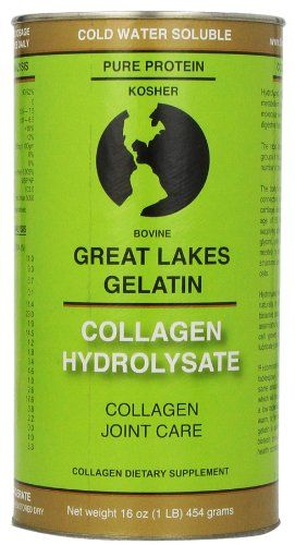 Great Lakes Gelatin, Collagen Hydrolysate (Kosher) 16-Ounce, packaged as individuals Helps regulate the body's metabolism. Builds connective tissue in hair, skin, and nails. Bio-active product containing 90% protein. Rapid absorption. Cold water soluble.