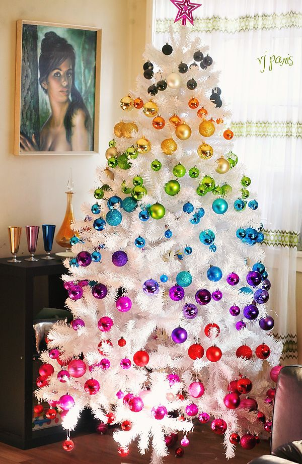 Another Rainbow Christmas tree -- wouldn't do it as our main tree (prefer the traditional with all our family ornaments) ...but maybe a small white one.
