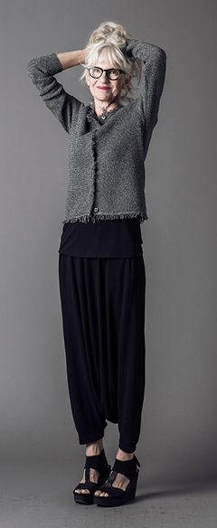 #DearTipster Rebecca pairing the harem pants with a short and sweet fringe knit jacket