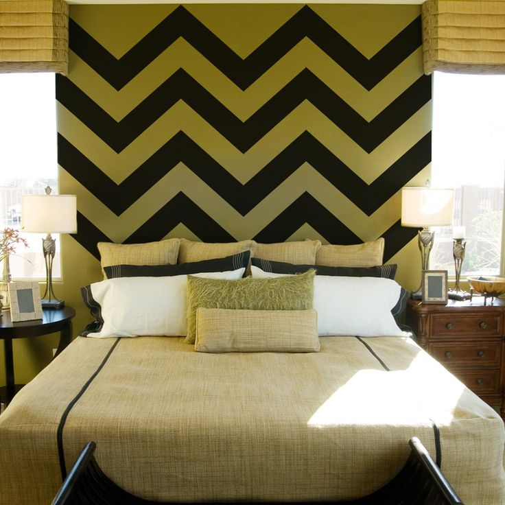 Hmmmm good idea to have it only above your bed. I'm debating if i want to paint chevron in my bedroom or not ....Chevron Stripe Wall Decals