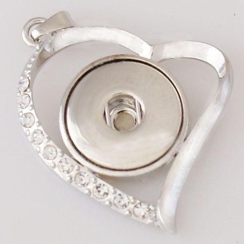 Pendant Heart Silver Tone Fit Snaps Chunk Buttons Clear Rhinestones 1Pc