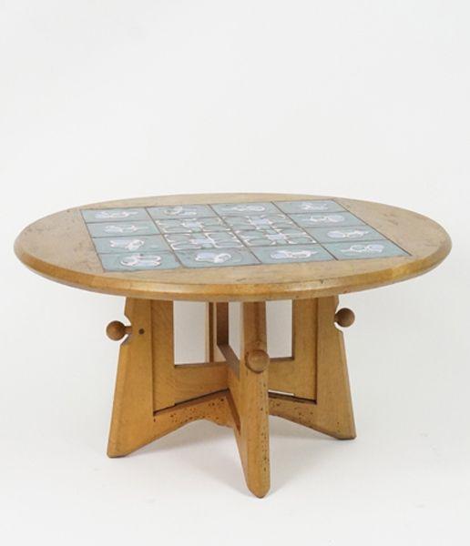 Table basse ou haute chêne et céramique. Guillerme et Chambron XXème www.jifcollin.com