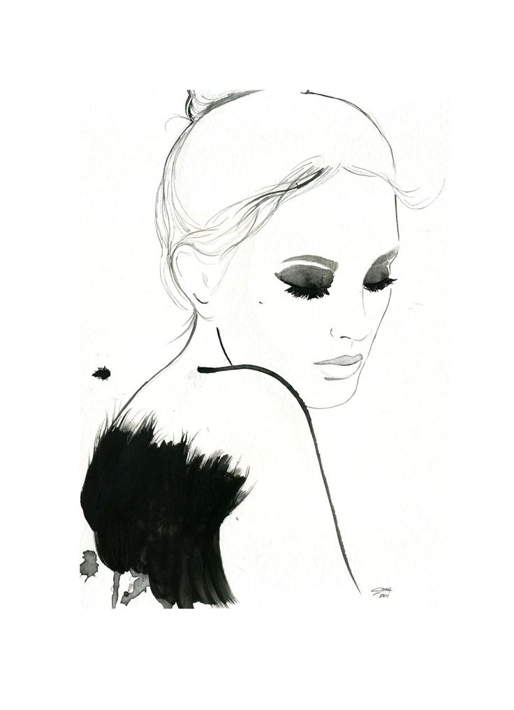 Watercolor and Pen Fashion Illustration - Dark Ballerina print.