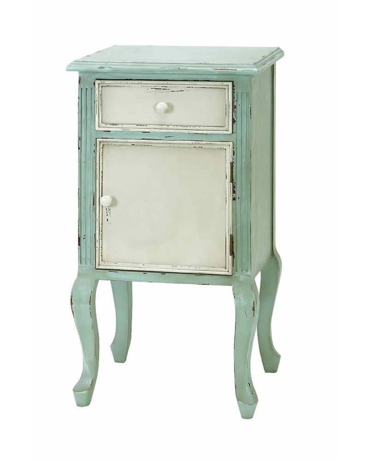French Antique End Table Cabinet With Drawers In Pastel Green Has A Distress Antique White