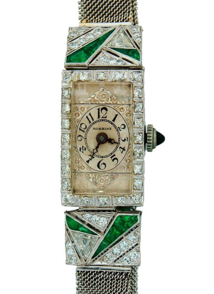 Art Deco c.1910s DIAMOND EMERALD & PLATINUM LADIES WATCH SIGNED ROBBINS - Chic! #Robbins #artdeco #1910s #diamond #emerald #platinum #watch #robbins