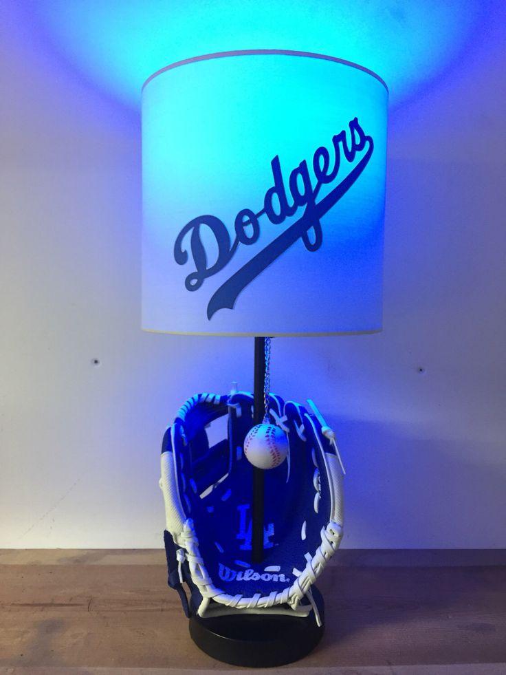 Los Angeles Dodgers Baseball Lamp, Baseball Glove, MLB, man cave, bar light, kids night light, sports, LA Dodgers by CaliradoArt on Etsy https://www.etsy.com/listing/514711217/los-angeles-dodgers-baseball-lamp