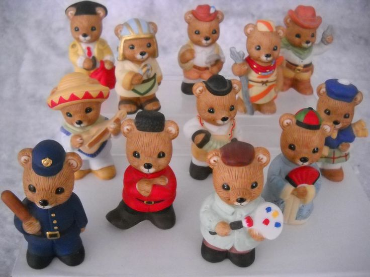 Home Interiors, Set Of 12, International Bear Figurine #1406 Part 38