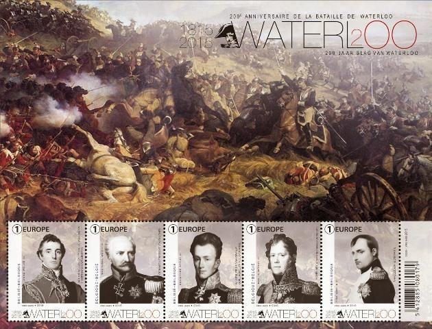 Schlacht von Waterloo auf Briefmarkenblock