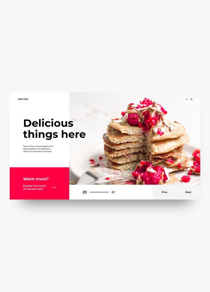 tasty food - web 001  dribbble.com/fromwater  #app #clean #design #flat #interface #minimal #simple #ui #ux #web #webdesign #website #dribbble #digital #uiux #minimalist