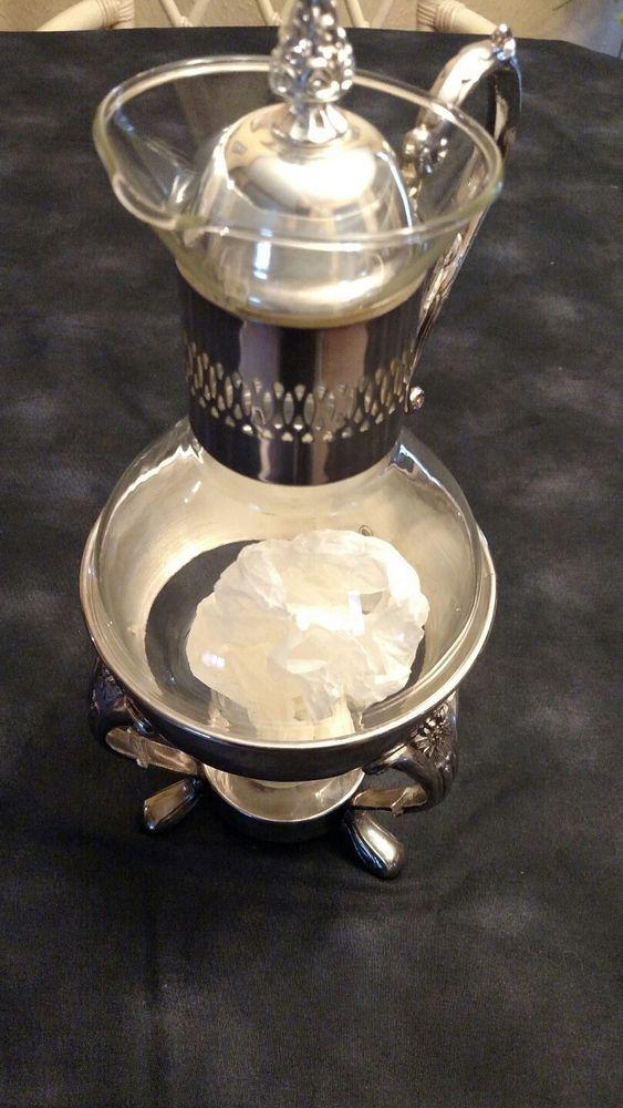 1978 Leonard Silver Plate Stand Lid 10 Cup Glass Carafe Coffee Tea Candle Warmer #LeonardSilverMFG