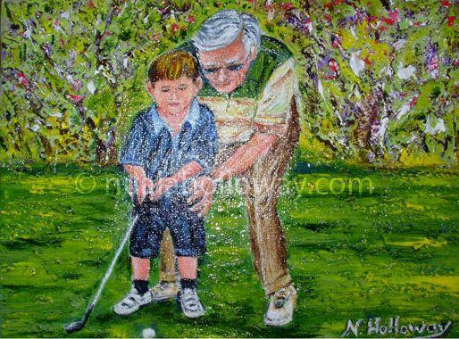 """""""Grandad Open"""" by Nuala Holloway - Oil on Board #Golf #Grandchild #Grandad #Art"""