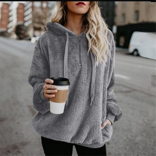 Hoodies Sweatshirt Women 2018 Autumn Winter Warm Loose Hoodies Casual Velvet Solid Pullover Hooded Top Plus Size Coats 5XL 2
