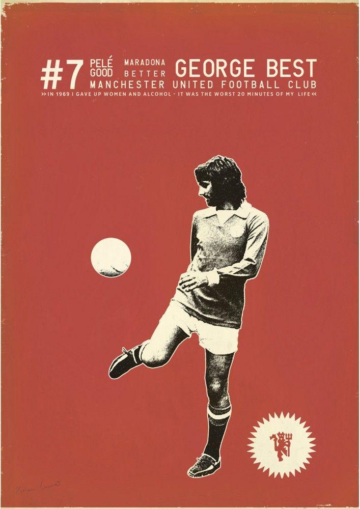 George Best 3 - Zoran Lucic Sergeant Paper editions  Giclee print sur papier Innova 210 gr 50x70 cm - Edition limitée à 100 ex Numérotée et signature numérique 50€  #georgebest #football #vintage #manchesterunited #foot #artprint #deco #soccer