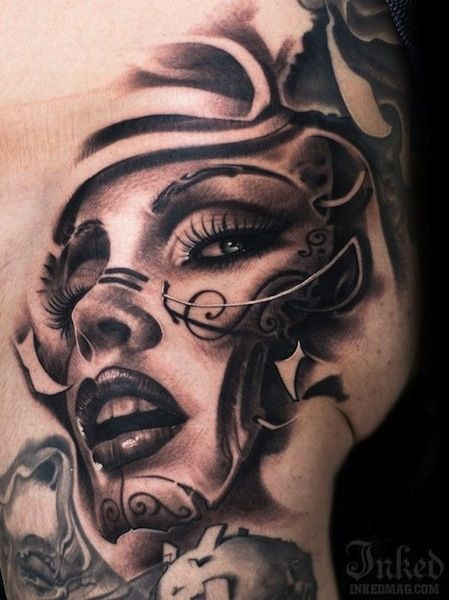 woman face on hip by Victor Portugal | tattoo artist – Krakow, Poland