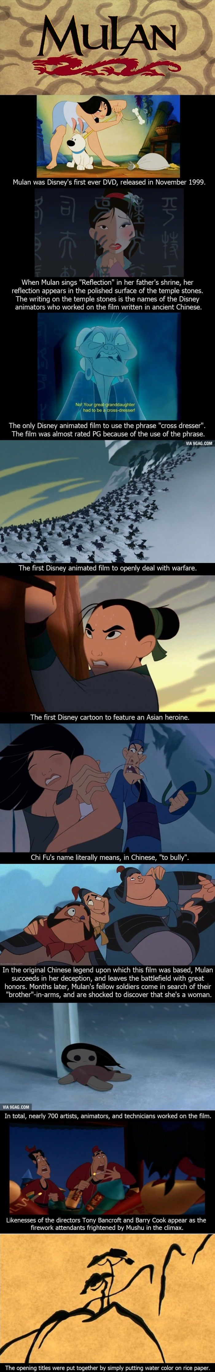 one of these is wrong!! it is not the only disney movie to openly deal with warfare, what about pocahontas???