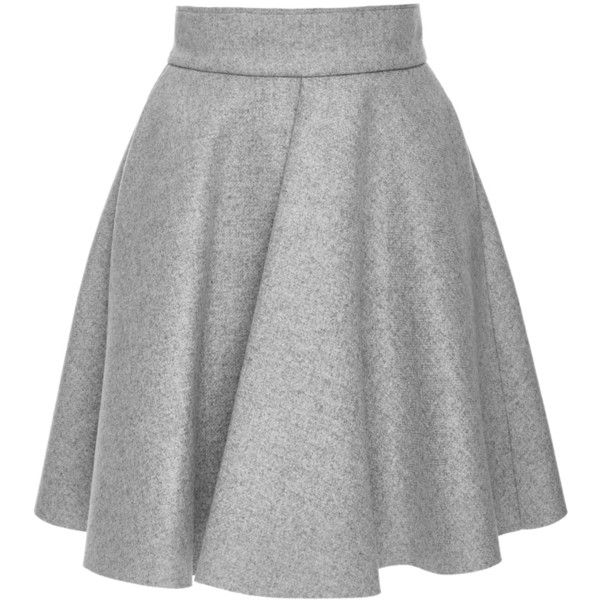 MSGM Grey Wool Blend Pleated Circle Skirt (125 KWD) ❤ liked on Polyvore featuring skirts, skater skirt, high waisted flared skirt, pleated circle skirt, high waisted knee length skirt and pleated skirt