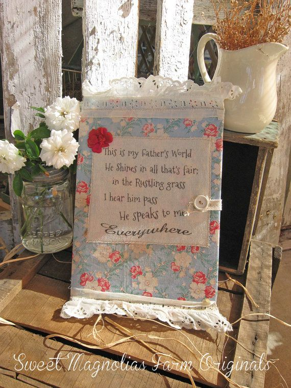 """Vintage Feedsack Journal Removable Cover  """"This is my Fathers House"""" by Sweet Magnolias Farm, 36.50"""