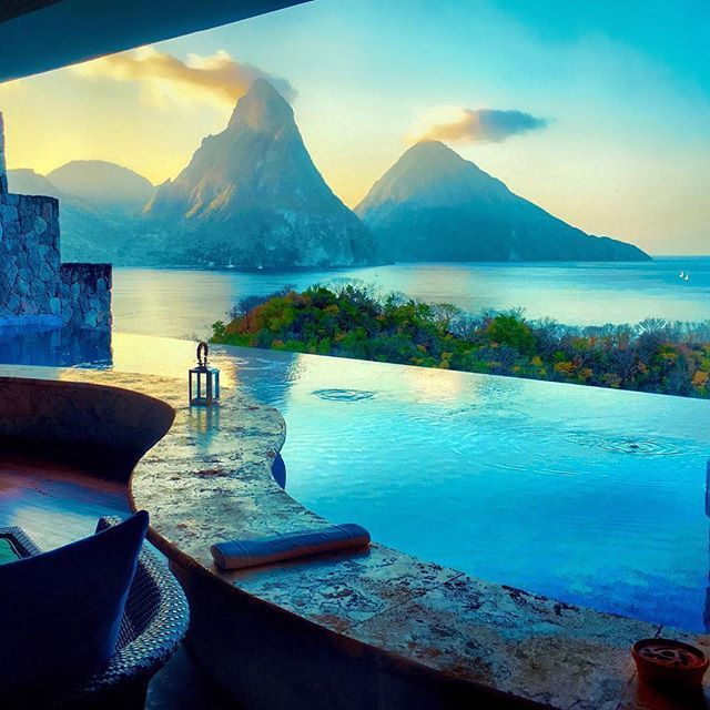Early Morning View from Jade Mountain Resort - St. Lucia.
