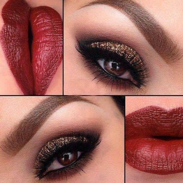 Labios rojos  con Sombras color bronce maquillaje especial para noche buena