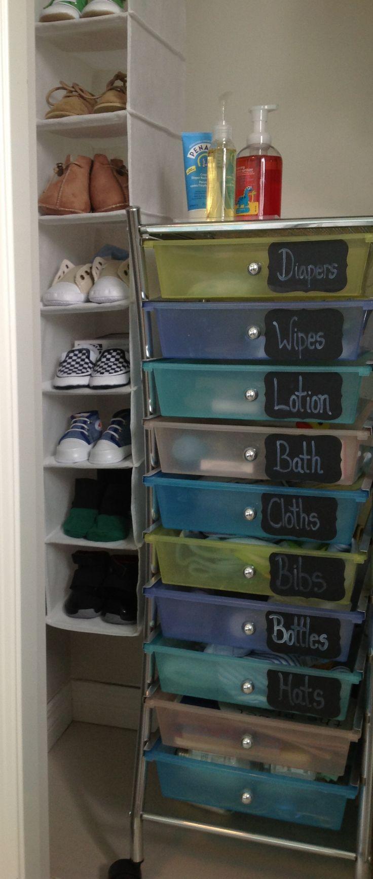Nursery organization. Cart from Costco. Martha Stewart labels from Staples. Brides chalk pen from Michaels.  Shoe organizer from Walmart.