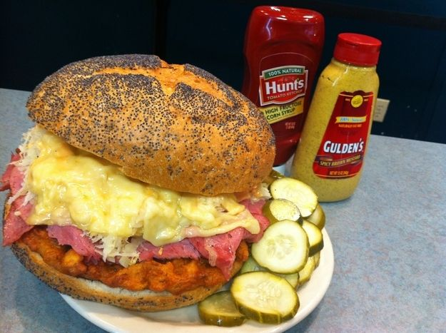 Hate yourself in the morning by taking Izzy's 110 Reuben challenge.    Or yield to moderation and split this local Cincinnati beast with some friends.